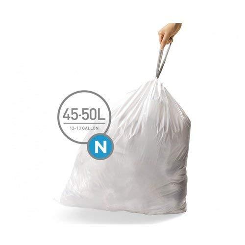 simplehuman Code N Custom Fit Drawstring Trash Bags, 45 -50 L / 12-13 Gallon, 1 Refill Pack (20 Count)