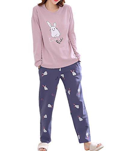 Vopmocld Big Girls' Funny Pajama Sets Winter Long Sleeve Sleepwear Cute Rabbits Loungewear ()