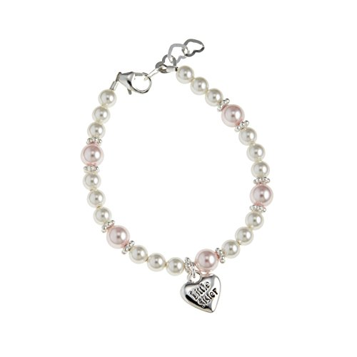 Simulated Pearl Charm (Crystal Dream Luxury Sterling Silver Little Sister Heart Charm with White and Pink Swarovski Simulated Pearls Stylish Baby Girl Bracelet (BLSC_S))