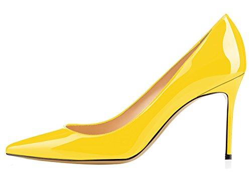 Guoar Womens Sexy Scarpe A Punta Scarpe Basse A Punta Alta 8,5 Cm Giallo