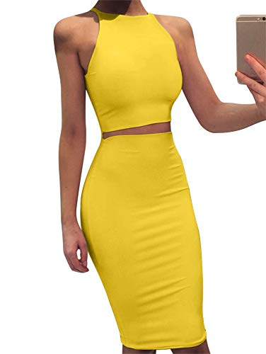 Summer Dress Jeans - GOBLES Women Sleeveless Bodycon 2 Piece Midi Skirt Outfits Halter Cocktail Dress Yellow