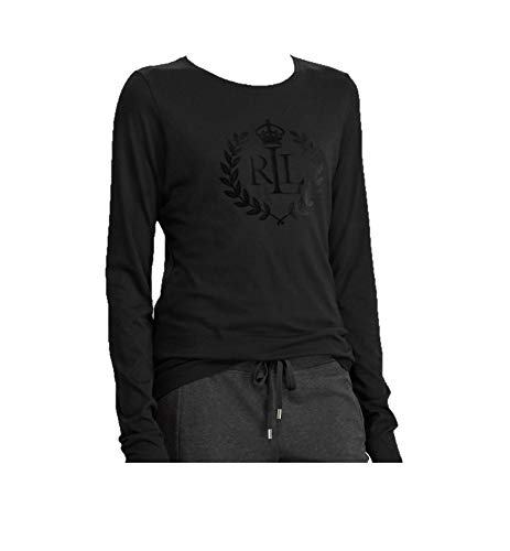 Lauren Ralph Lauren Women's Crown Logo Tee (Black, Medium) ()