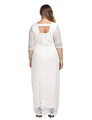 73ec647337d Chicwe Women s Plus Size Stretch Lace Maxi Dress - Evening Wedding Cocktail  Party Dress