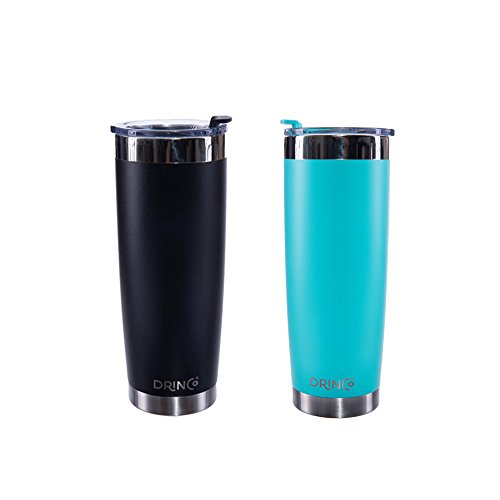 Drinco - Stainless Steel Tumbler | Double Wall Vacuum Insulated Mug | Travel Mug with Spill Proof Lid | Aqua Black | Perfect for Camping & Traveling | Cruiser Cup | BPA Free | 20oz