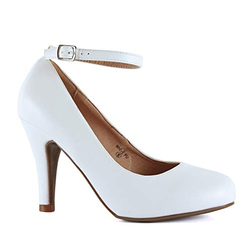 Guilty Heart - Womens Almond Toe Party Dressy Ankle Strap High Heel Pumps (8 M US, White ()