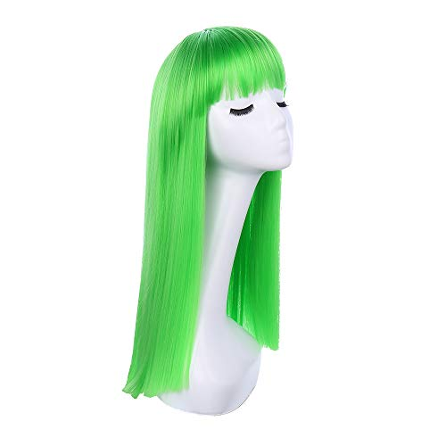 High Silk Temperature - 21 Inch Long Straight Hair Wigs for Women High temperature silk synthesis hair Cosplay Costume Hair Wig wigs (Green)