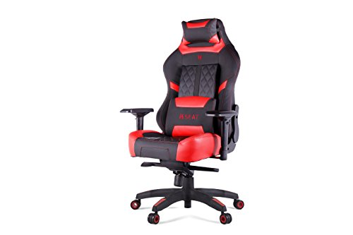 N Seat Pro 600 Series Executive Racing Design Computer Gaming Office Swivel Chair with Lumbar Support and Headrest Pillow Included, Red Featured N Seat