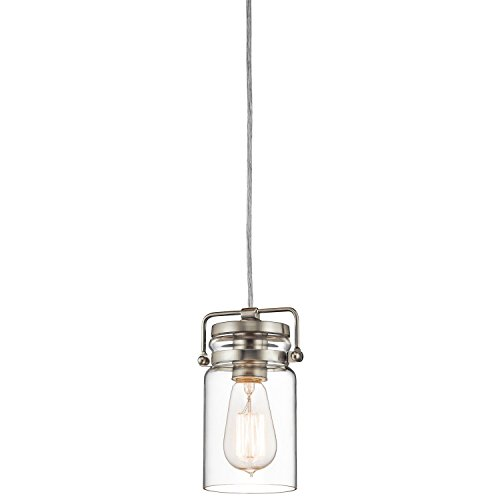 Kichler Lighting 42878NI Brinley 1LT Mini-Pendant, Brushed Nickel Finish with Clear Glass Shade (Unique Kitchen Lighting)