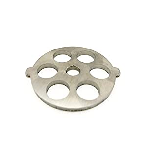 """Berucci Stainless Steel 6 Hole Meat Grinder Plate Disc Blade for FGA KitchenAid Mixer Attachment 1/2"""" holes for COARSE GRIND / CHILI GRIND"""