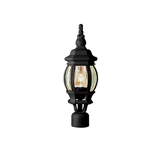 Transglobe Lighting 4060 BK Post Head with Beveled Glass Shade, Black Finished For Sale