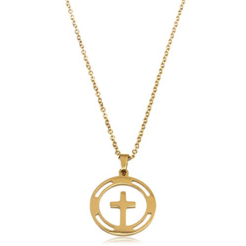 Ckysee Gold Plated Cross Pendant Stainless Steel Chain Fashion Gold Color Necklace for (Sign Cross Necklace)