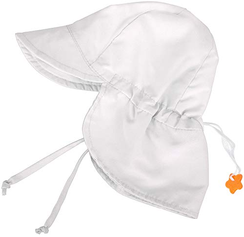 SimpliKids UPF 50+ UV Ray Sun Protection Baby Hat w/Neck Flap, White2, 0-12 Months -