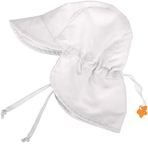 (SimpliKids UPF 50+ UV Ray Sun Protection Baby Hat w/ Neck Flap & Drawstring,White,6-12 Months )
