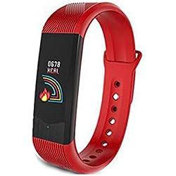 WANGXN Fitness Tracker Upgrade Activity Tracker Fitness-Uhr Mit Herzfrequenz-Blutdruckmessgerät, IP67 Wasserdicht Schrittzähler,Red
