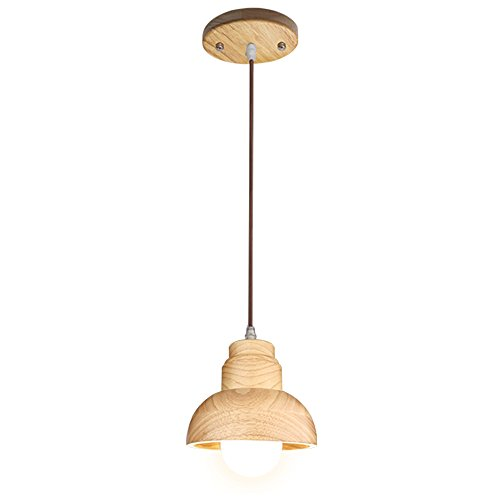Aooshine Wood Pendant Light, 1-Light Modern Ceiling Lights, Solid Wooden Pendant Lamp Fixture for Kitchen Island Dining Table (Pack of 1)