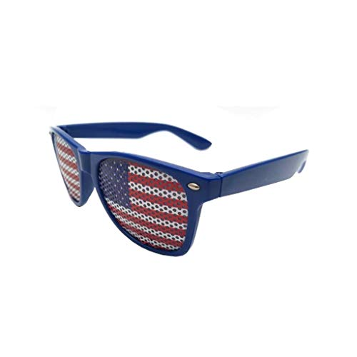 Mayunn July 4th Independence Day American Flag Design Plastic Shutter Glasses Shades Sunglasses Eyewear for Outdoor Party Decorative Glasses (A:Blue)