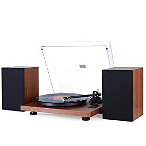 1 BY ONE Turntable Hi-Fi System with 36 Watt Bookshelf Speakers, Vinyl Record Player with Magnetic Cartridge