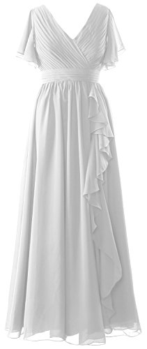 Gown the of Dress Women MACloth Sleeves V Bride Neck Formal Mother Short Weiß Evening wXwf7qC