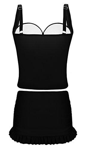 Angerella Mujeres Tankini con Boyshort Traje de Baño de Dos Piezas Bikini Negro