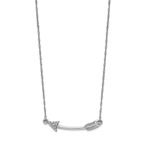 14k White Gold Diamond Arrow Chain Necklace Pendant Charm Fine Jewelry Gifts For Women For Her
