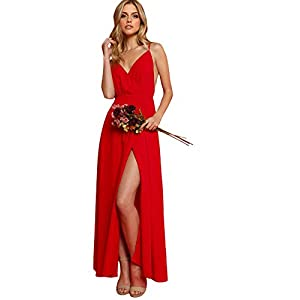 Verdusa Women's V-Neck Backless Wrap Velvet Cocktai Party Dress Red S