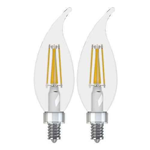 GE Lighting 36846 Clear Finish Light Bulb Relax HD Dimmable LED Decorative 5.5 (60-Watt Replacement), 500-Lumen Candelabra Base Bent Tip, 2-Pack, Soft White, 2