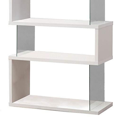 Asymmetrical Snaking Bookcase White Glossy and Clear by Coaster Home Furnishings (Image #4)