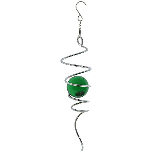 Sunnydaze Cyclone Tail Wind Spinner with Metal Hanging Hook, 11 Inch, Green - for Outdoor Garden, Yard, and Patio