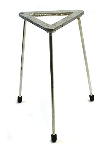 Zinc Plated Cast Iron Triangular Tripod stand for Bunsen burners, 8.25