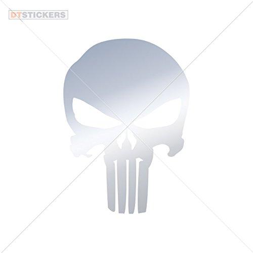 Vinyl Sticker Decals Skull Skulls Punisher Sports Bike (9 X 6,49 In. ) Metallic Chrome Mirror