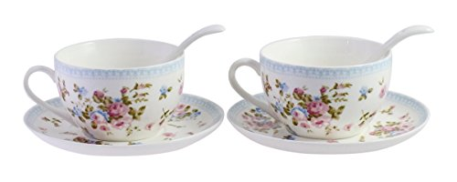 JustNile Tea for Two Porcelain Floral Tea Coffee Cups Saucer Set with Spoon - Set of 2, Floral