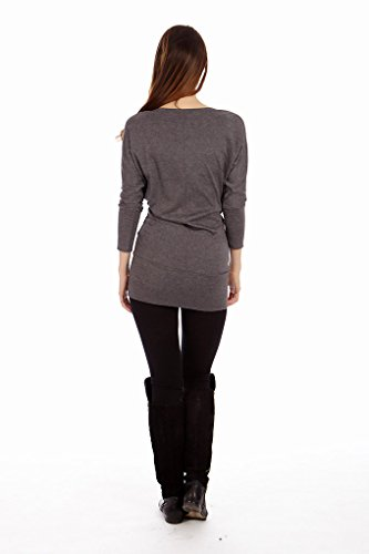 by H Long Dress D Spandex Dinamit Rayon Tunic Casual Batwing Sleeve Knit Grey 8wqgxUP