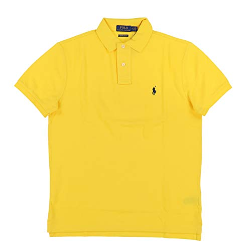 Polo Ralph Lauren Mens Custom Slim Fit Polo Shirt (Medium, Yellow)