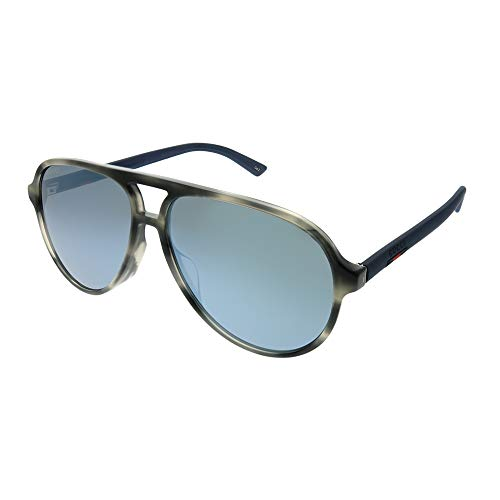 Gucci GG 0423SA 003 Grey Havana Plastic Aviator Sunglasses Grey Mirror Lens ()