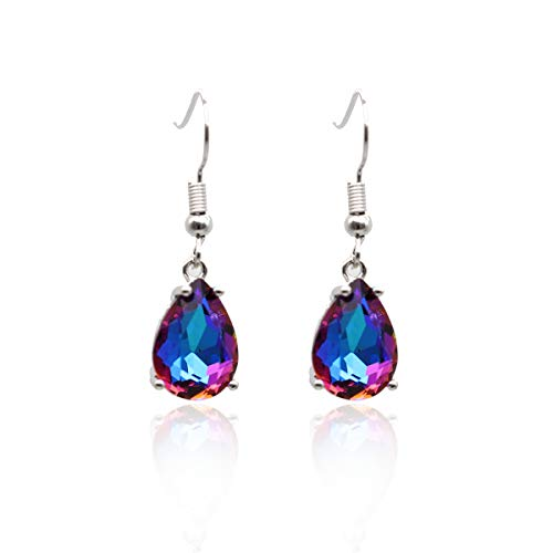 Orris Bohemia Vintage Retro Silver Big Colorful Gem Carved Little Drop Dangle Earrings For Women Girls ()