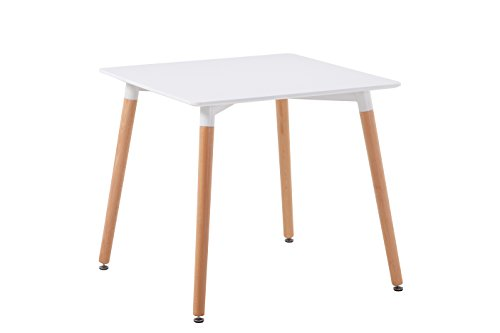 Creation Yusheng Square Dining Table, living room table with Wooden Legs, White by CREATION YUSHENG