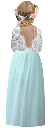 2Bunnies Girl Peony Lace Back A-Line Straight Tutu Tulle Party Flower Girl Dresses (Mint Maxi, 7/8)]()