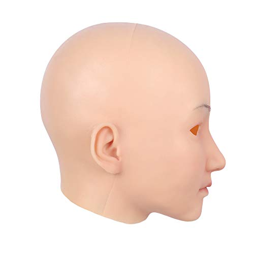 Soft Silicone Realistic Female Head Mask Hand-Made Face for Crossdresser Transgender Halloween Costumes 3G Ivory White -