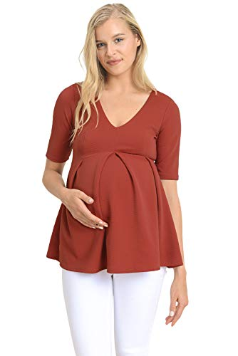 (Hello MIZ Women's Maternity Peplum Blouse Top with Empire Waist Pleat (Red Brown Solid, L))