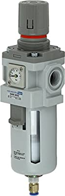 "PneumaticPlus SAW400-N04BDGS Compressed Air Particulate Filter Regulator Piggyback Combo 1/2"" NPT, 10 um - Poly Bowl, Auto Drain, Bracket, Embedded Gauge"
