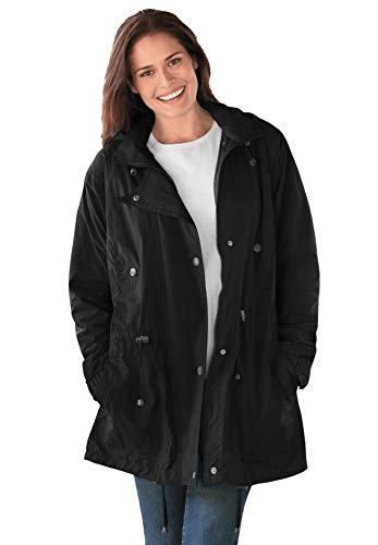 Woman Within Women's Plus Size Fleece-Lined Taslon Anorak Rain Jacket