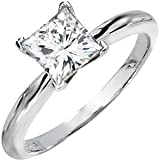 Gorgeous! 14k White-gold Square Brilliant Princess-cut (11/2 CT) 06.50MM Moissanite Solitaire Engagement Ring