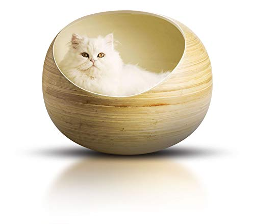 Fhasso Stylish Igloo Cat Cave Bed – Luxury Bamboo Cat Beds – Deluxe Handmade Natural Bed – Eco-Friendly Pods – Washable Cushioned Nest, Prestige Kitten Cozy House, Premium Home Decor Furniture – Milk