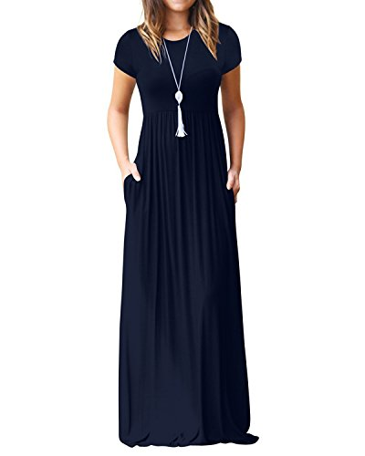 Used, Kidsform Women's Maxi Dress Short Sleeve Loose Plain for sale  Delivered anywhere in USA