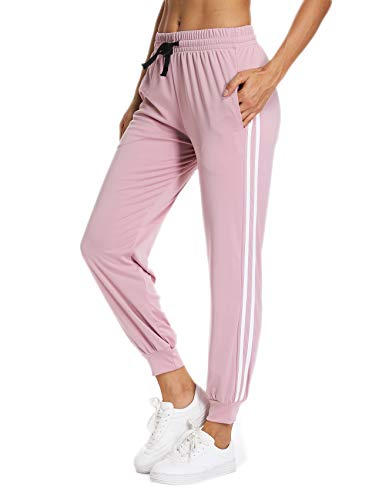 (Women's Cuffed Jogger Pants Drawstring Side Stripe Active Workout Yoga Sweatpants Legging with Pockets L Flamingo)