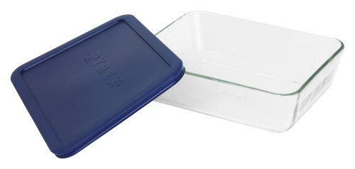 Pyrex Simply Store 6-Cup Rectangular Glass Food Storage Dish,Blue