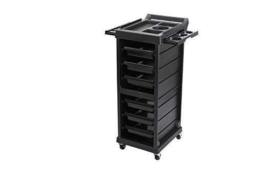 Salon Style Beauty Furniture Hair Styling Storage Station Tray Holder Black with 6 Drawers & 4 Rolling Wheels for Stylist Hairdresser Salon Trolley Cart