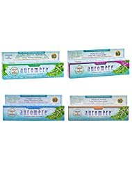 Auromere Ayurvedic Herbal Toothpaste Pack of 4 | Variety 4.16oz