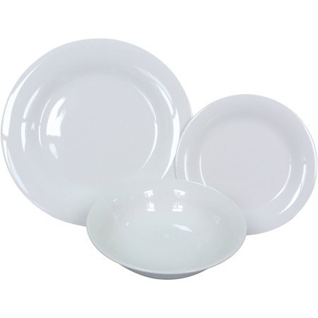 Mainstays 12-Piece Dinnerware Set White  sc 1 st  Amazon.com : white dinnerware sets for 12 - pezcame.com