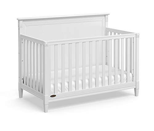 Stork Craft Graco Aria 4-in-1 Convertible Crib (White) - Easily Converts to Toddler Bed, Daybed, and Full-Size Bed, 3-Position Adjustable Mattress Support Base, White
